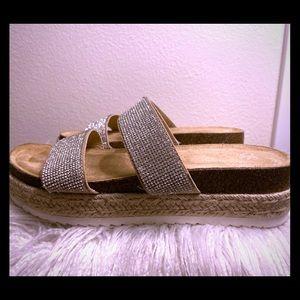 SO Platform Glitter Strap Slip On Shoes